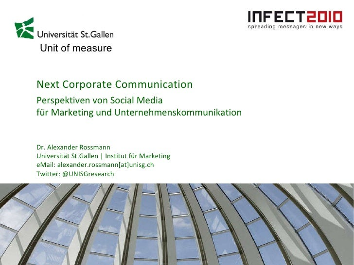 Next Corporate Communication Perspektiven von Social Media  für Marketing und Unternehmenskommunikation Dr. Alexander Ross...