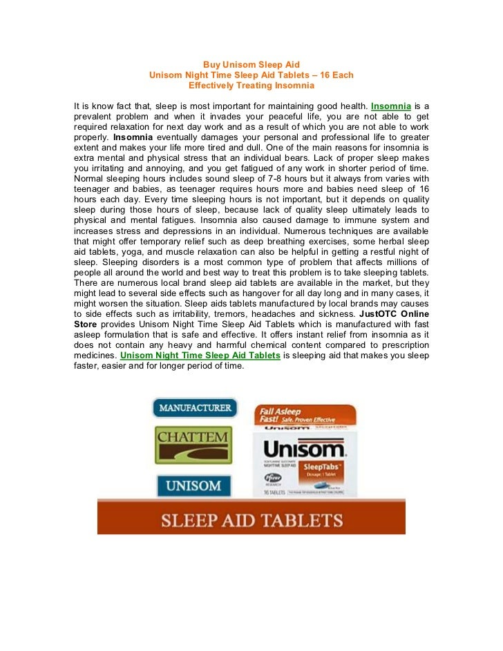Buy Unisom Sleep Aid                   Unisom Night Time Sleep Aid Tablets – 16 Each                           Effectively...