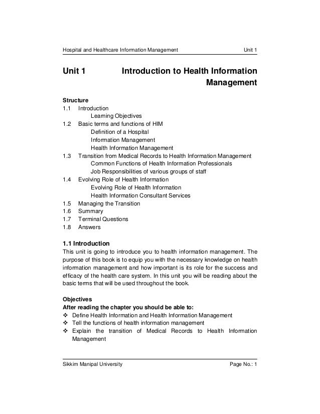 Hospital and Healthcare Information Management                          Unit 1Unit 1                  Introduction to Heal...