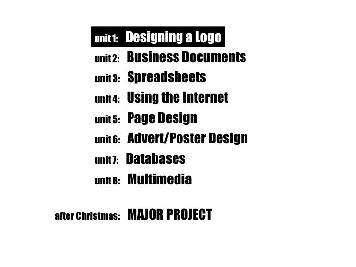 unit 1:   Designing a Logo unit 2:   Business Documents unit 1:   Designing a Logo unit 3:   Spreadsheets unit 4:   Using ...