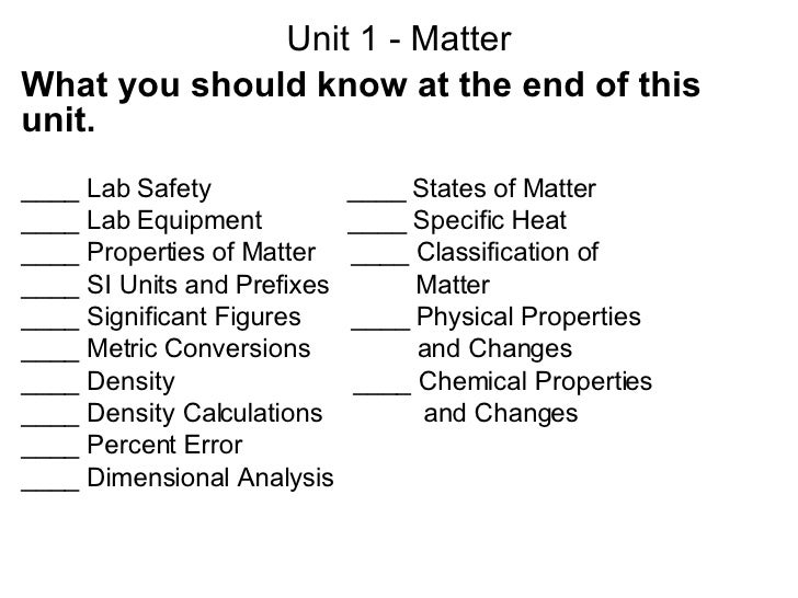 Unit 1 - Matter What you should know at the end of this unit. ____ Lab Safety  ____ States of Matter  ____ Lab Equipment  ...