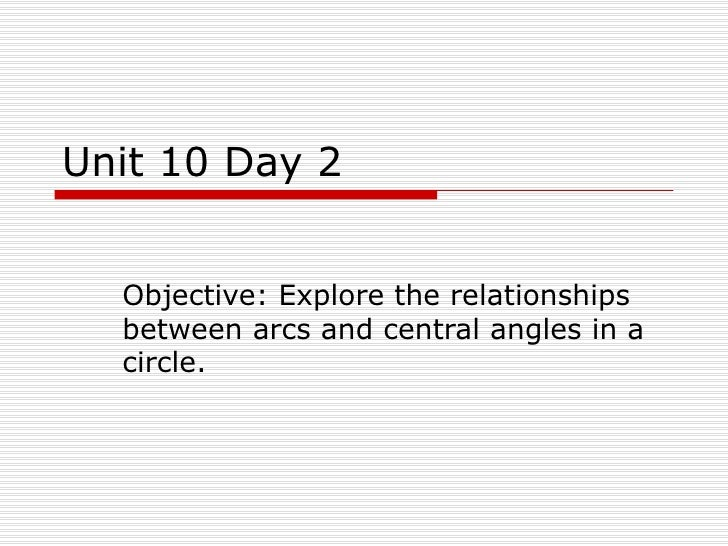 Unit 10 Day 2 Objective: Explore the relationships between arcs and central angles in a circle.
