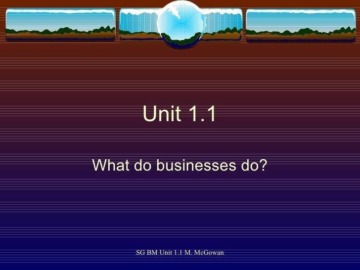 Unit 1.1 What do businesses do?