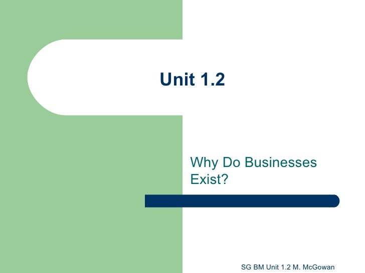 Unit 1.2 Why Do Businesses Exist?