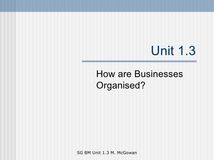 Unit 1.3 How are Businesses Organised?