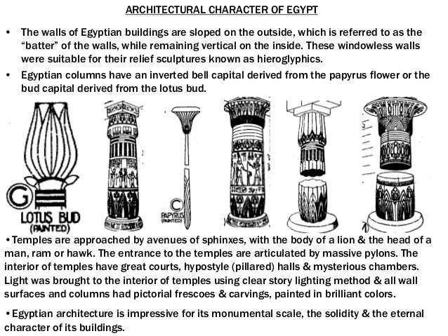 Architectural Character Of Egypt The Walls Of Egyptian Buildings Are