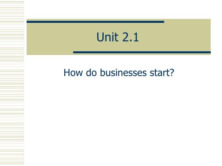 Standard Grade Business Management Unit 2.1 Slides