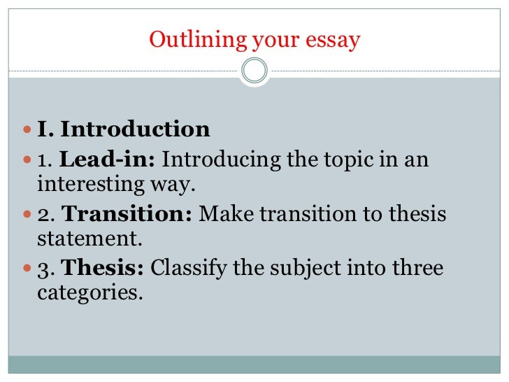 Essay on classification