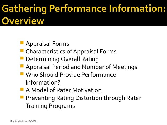  Appraisal Forms  Characteristics of Appraisal Forms  Determining Overall Rating  Appraisal Period and Number of Meeti...