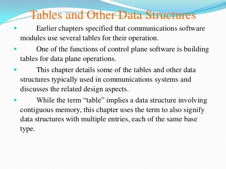 Tables and Other Data Structures       Earlier chapters specified that communications software  modules use several table...