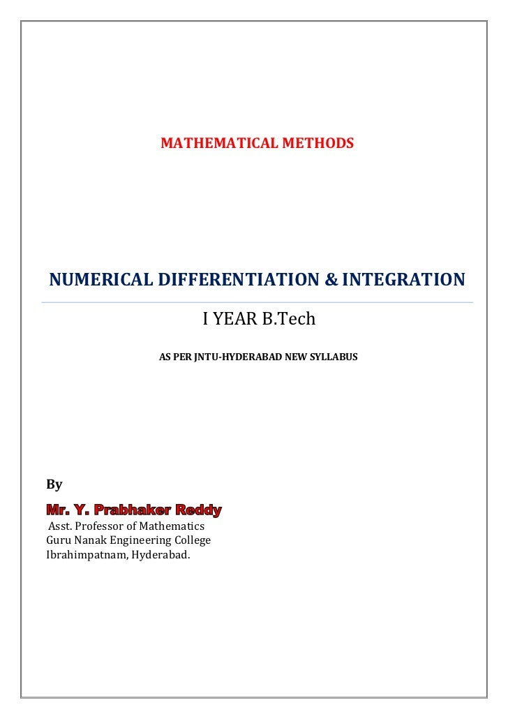 MATHEMATICAL METHODSNUMERICAL DIFFERENTIATION & INTEGRATION                            I YEAR B.Tech                    AS...