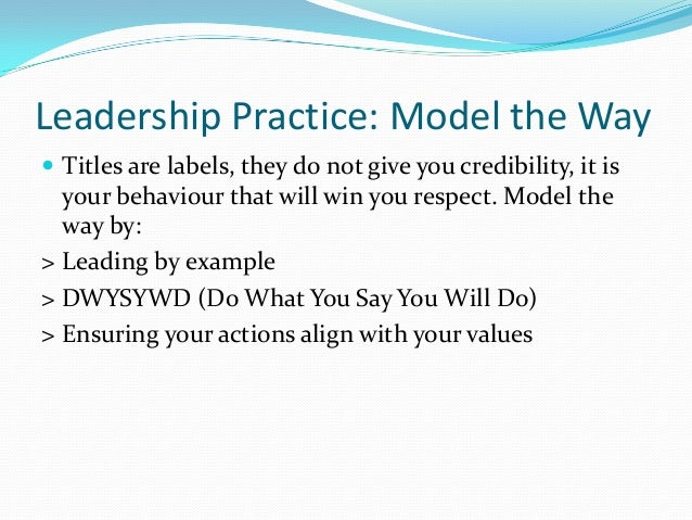 "credibility modeling the way And on the other side of that coin, we discussed the unfortunate legacy of joe paterno, whose credibility was diminished because of his choices many years ago, despite his unbelievable if we break down each of these examples, it gives us a useful way to share what we call the ""lead model"" of safety leadership."