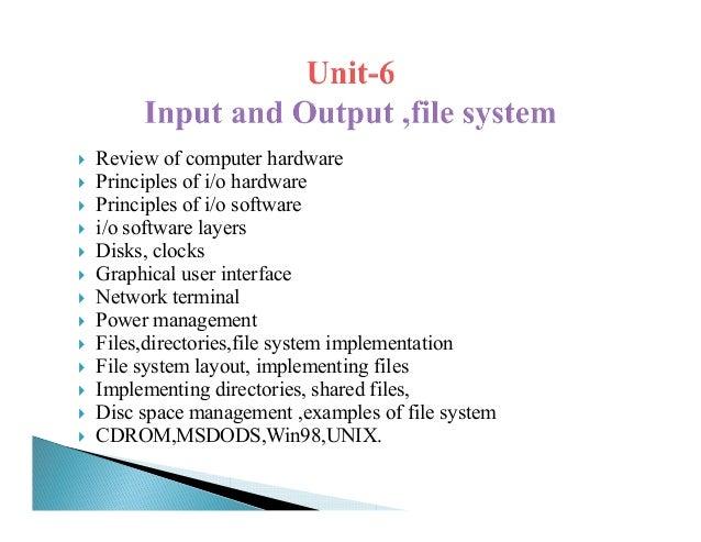 Review of computer hardwarePrinciples of i/o hardwarePrinciples of i/o softwarei/o software layersDisks, clocksGraphical u...