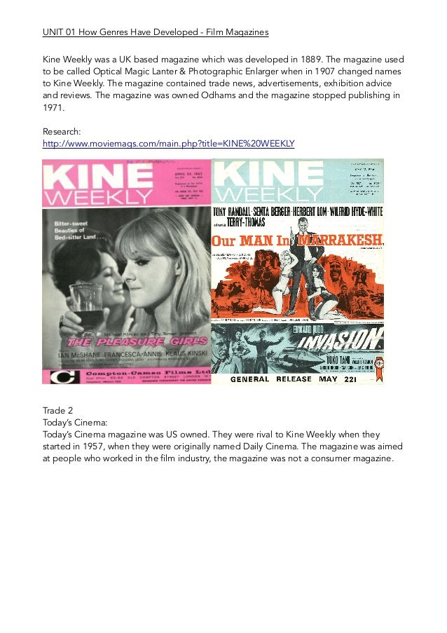 Kine Weekly was a UK based magazine which was developed in 1889. The magazine used to be called Optical Magic Lanter & Pho...