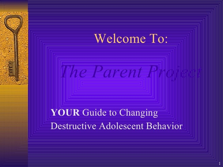 Welcome To:   The Parent Project   YOUR  Guide to Changing  Destructive Adolescent Behavior