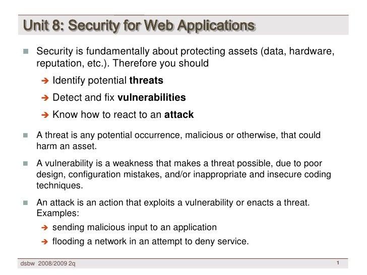 [DSBW Spring 2009] Unit 08: WebApp Security