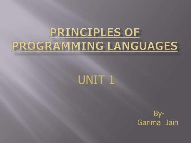 Unit1 principle of programming language