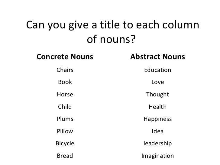 Similiar Concrete Nouns Keywords