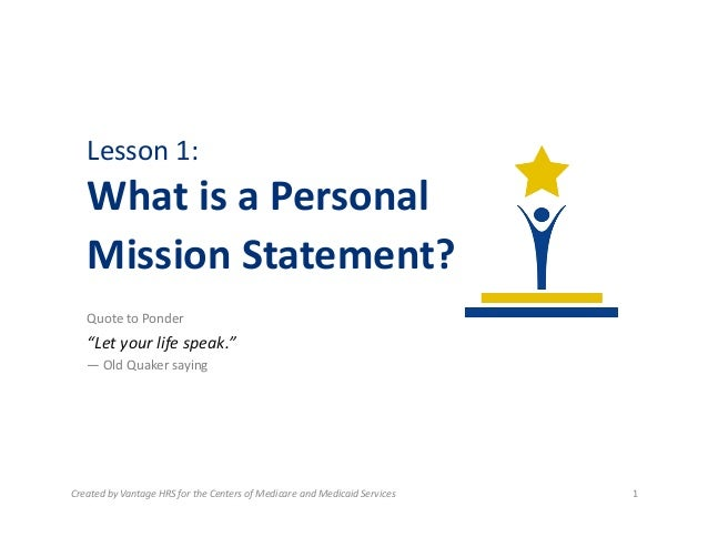 what is a personal mission statement definition