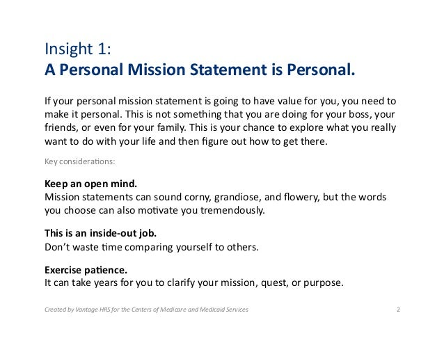 examples of a personal mission statement
