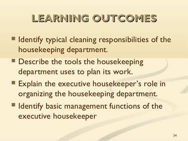 the role of hospitality The core activities of hospitality industry is housekeeping apart from other specialized services a good housekeeper provides the client with a wide variety of professional services and takes on the responsibilities of cleaning, laundry, cooking and running errands.