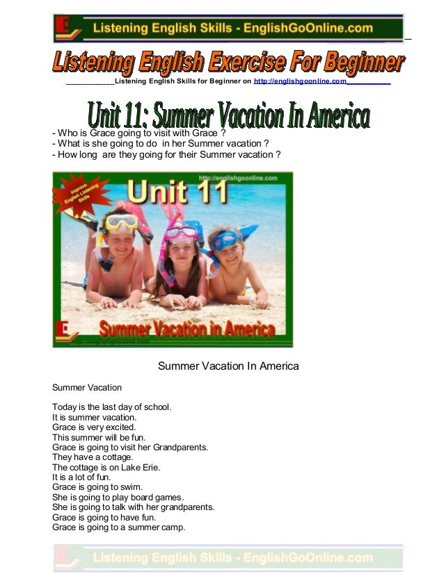 Unit 11. summer vacation in america