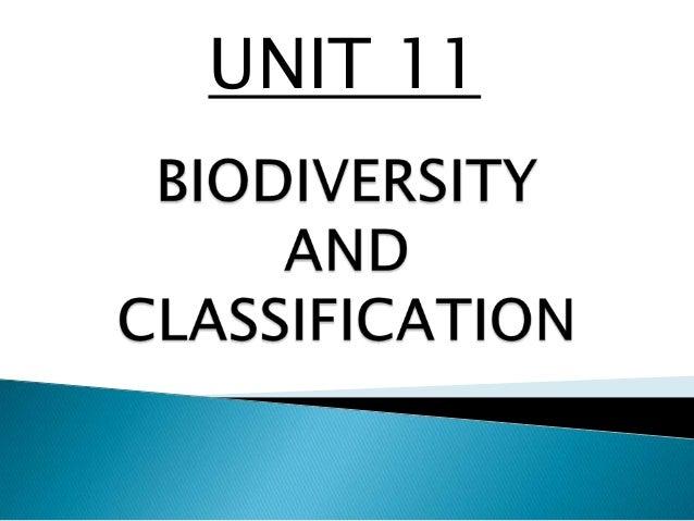 Unit 11 biodiversity and classification