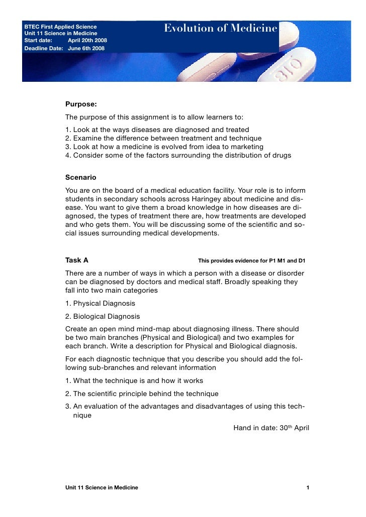 BTEC First Applied Science Unit 11 Science in Medicine                                                   Evolution of Medi...