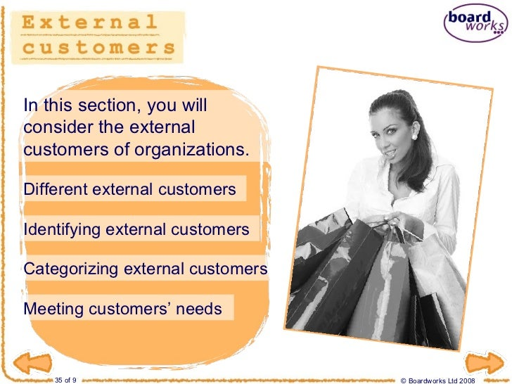 what is an external customer To my understanding, an external customer is the ordinarycustomers that purchase the companies products.