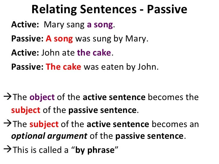 Relating Sentences - Passive <ul><li>Active:  Mary sang  a song .  </li></ul><ul><li>Passive:   A song  was sung by Mary. ...
