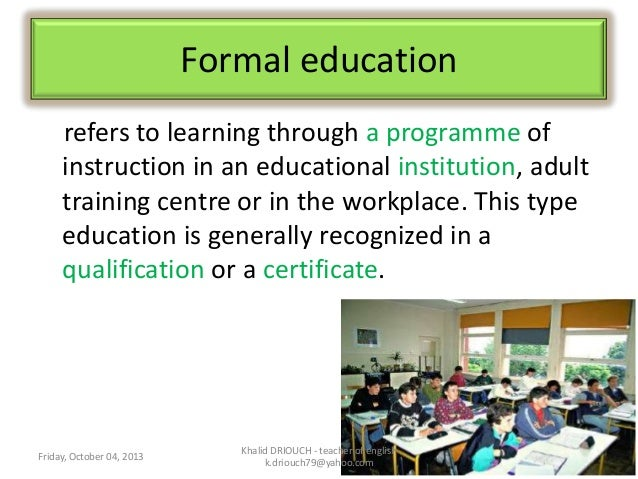 essay about formal and informal education