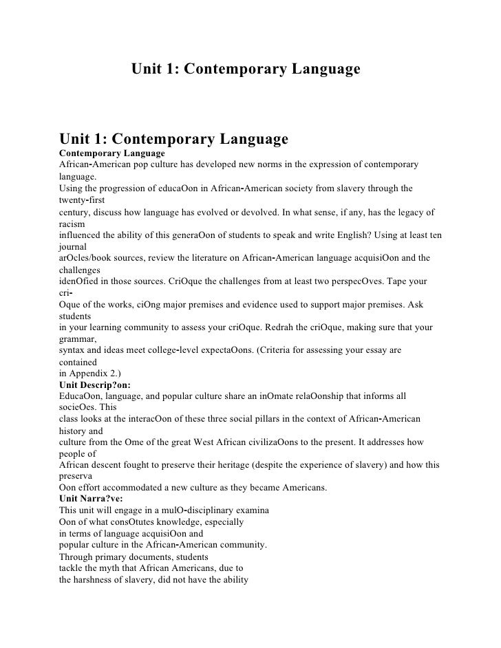 Analy Fro Unit 1: Contemporary Language m Enslavement to Freedom, a Productive Life-long Learner Unit 1: Contemporary Lang...
