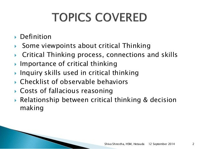 critical thinking skills assignment