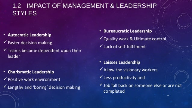 impact of management and leadership style on strategic decision Leadership style impacts the organization by affecting employee morale, productivity, decision-making speed, and metrics successful leaders carefully analyze.