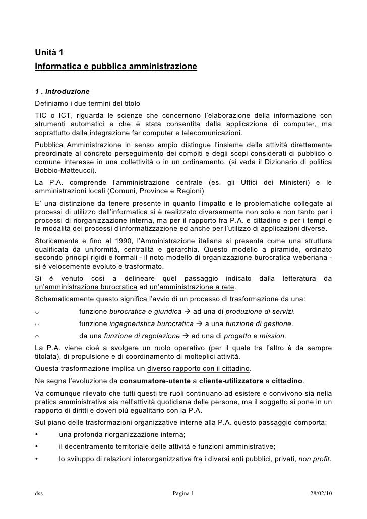 Unità 1 Informatica e pubblica amministrazione  1 . Introduzione Definiamo i due termini del titolo TIC o ICT, riguarda le...