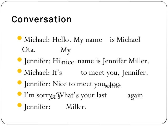 hello my name is nice to meet you lyrics