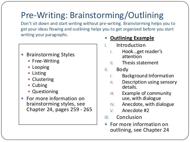 brainstorm for essay Brainstorming once you have chosen a topic and created a working thesis statement, now what well, since you know your specific topic, audience, and purpose, now it is time to begin deciding what main ideas/points will actually go into the essay.