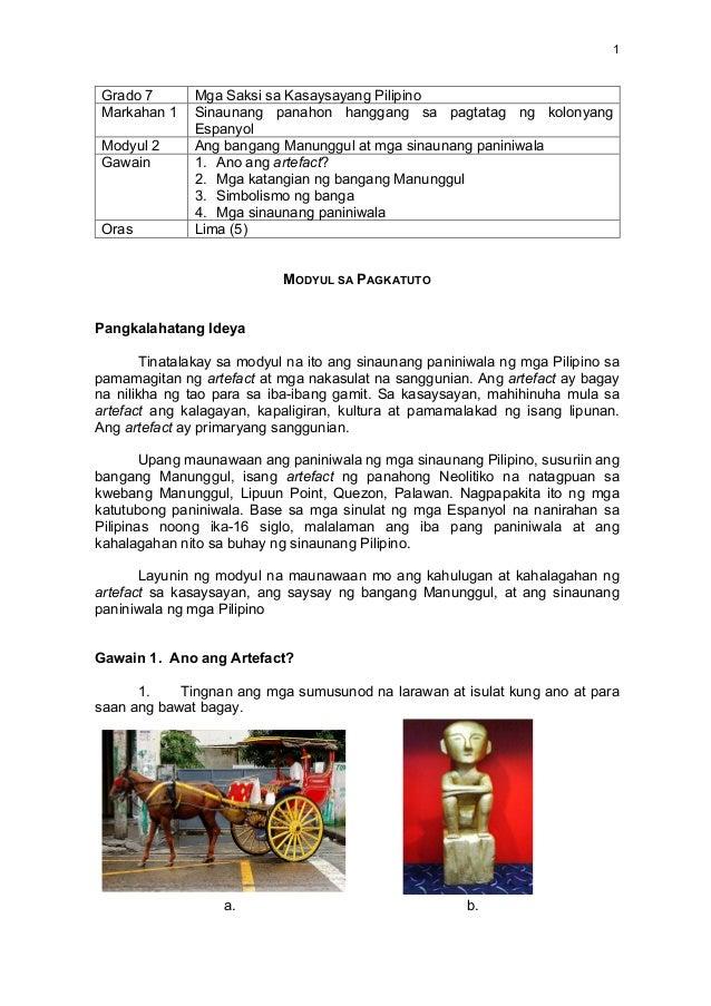 Unit 1, mod 2 Ang bangang Manunggul at mga sinaunang paniniwala
