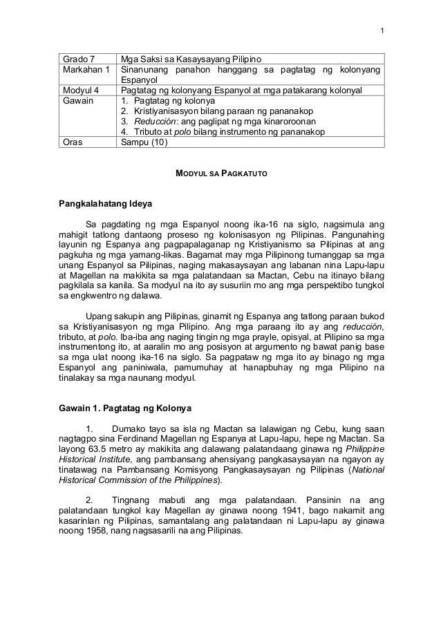1   Grado 7 Mga Saksi sa Kasaysayang Pilipino Markahan 1 Sinanunang panahon hanggang sa pagtatag ng kolonyang Esp...