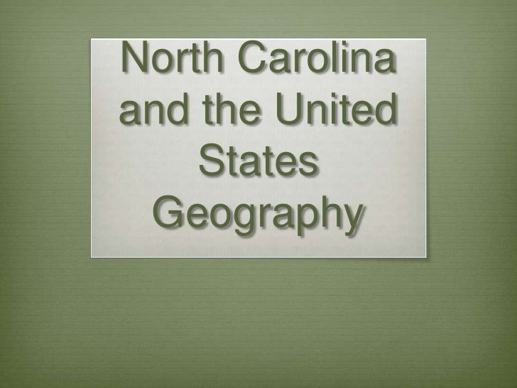 US and NC Geog Notes