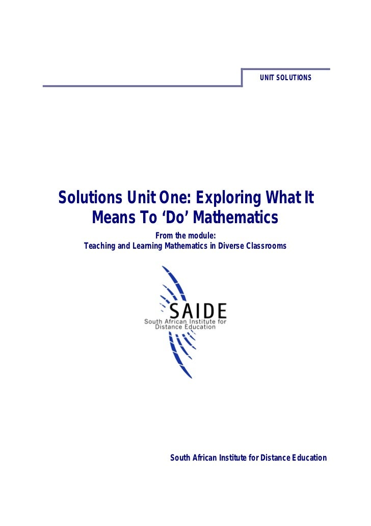 Ace Maths: Solutions Unit One - Exploring What It Means to 'Do' Mathematics (pdf)