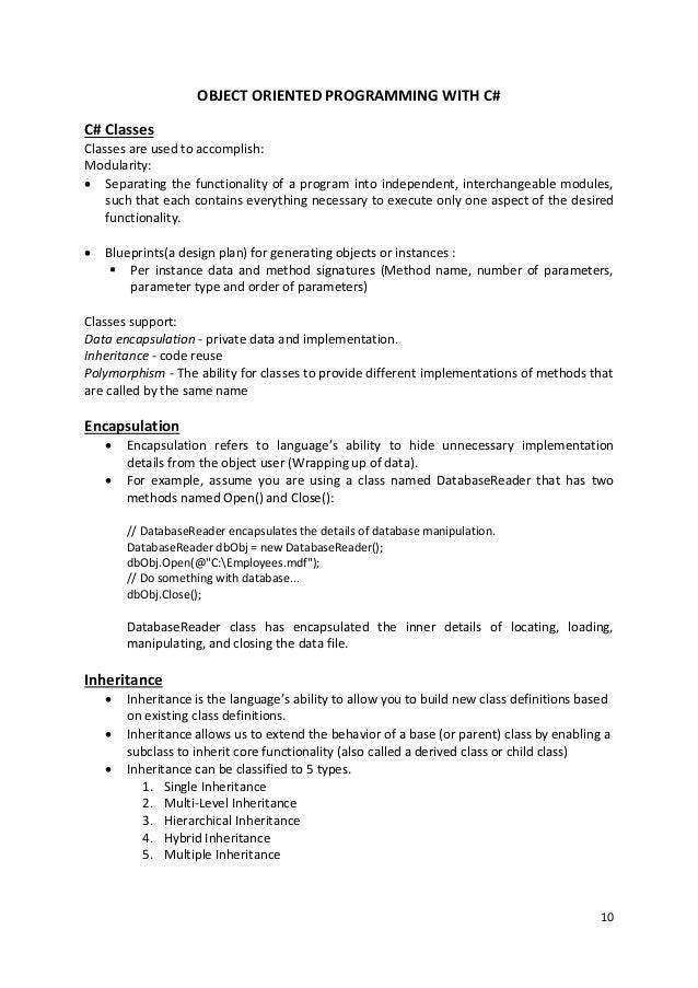 C# Unit 2 notes