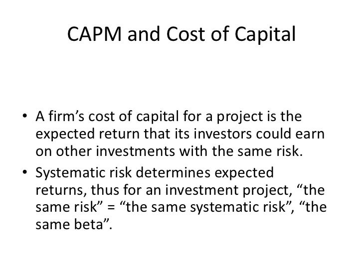 capm & cost of capital