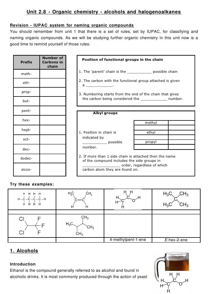 Unit 2.8 - Organic chemistry - alcohols and halogenoalkanes  Revision - IUPAC system for naming organic compounds You shou...