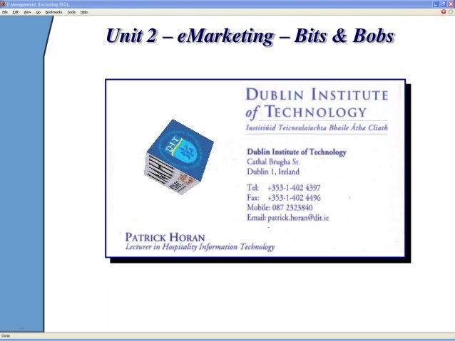 Unit 2 – eMarketing – Bits & Bobs