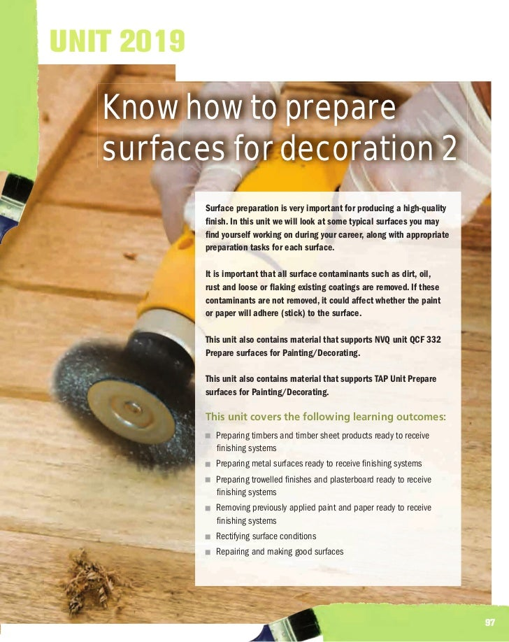 UNIT 2019   Know how to prepare   surfaces for decoration 2            Surface preparation is very important for producing...