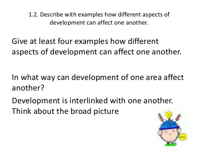 describe with examples aspects of development Adolescent development: aspects the many changes experienced by an adolescent can be grouped into five major categories: physical cognitive.