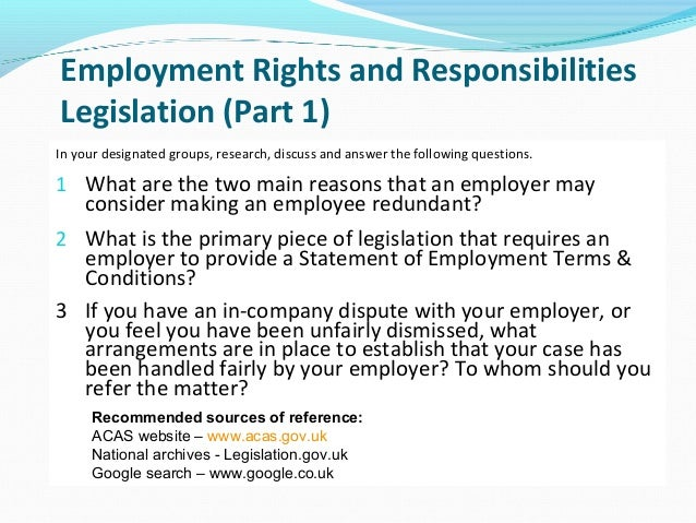 employments rights and responsibilities There are outstanding changes not yet made by the legislationgovuk editorial team to employment rights act 1996 those changes will be listed when you open the.