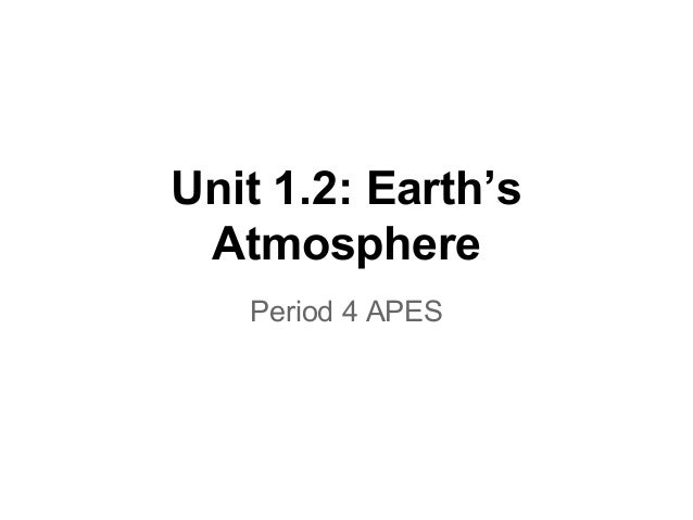 Unit 1.2: Earth's Atmosphere Period 4 APES