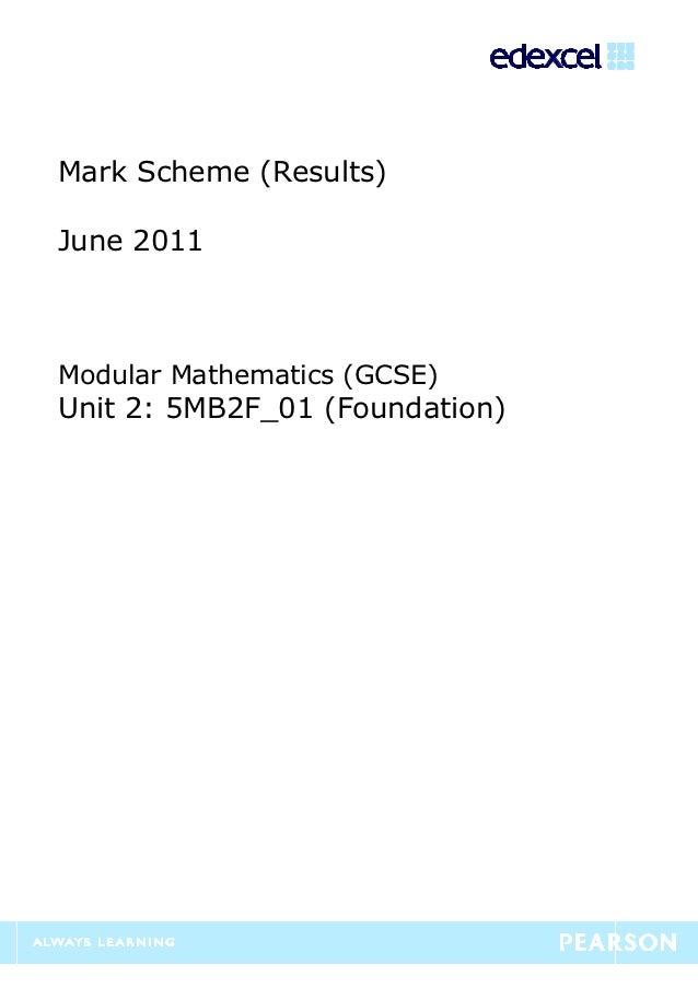 Unit 2 foundation mark scheme june 2011